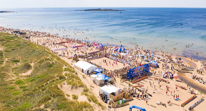 Aerial view of beach volleyball competition